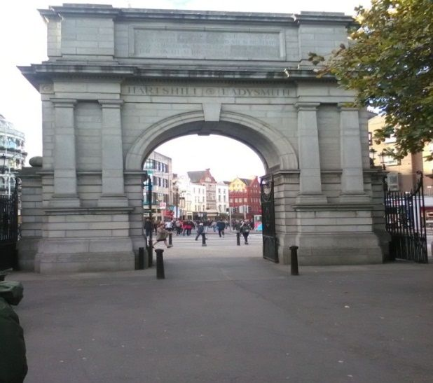 (Photo:) St. Stephen's Green Dublin where she was involved in the fighting.